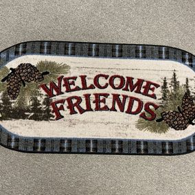 Mayberry Rugs -Rubber Backed Mat Cozy Cabin Welcome Friends