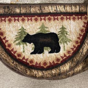 Mayberry Rugs Half Round Rubber Backed Mat Cozy Cabin Birch Bear