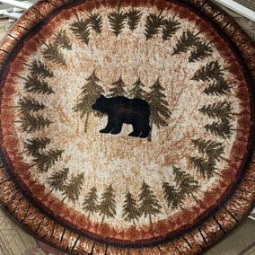 Mayberry Rug 4' Round Rubber Back Mat Cozy Cabin Birch Bear
