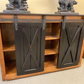 "Fighting Creek - Amish - 52"" Sliding Barn Door TV Console - Solid Pine"