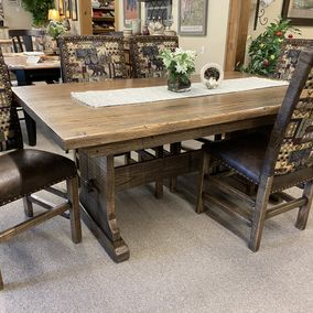 Cornerstone Wood - Amish - Rustic Plank Trestle Table & Side Chairs