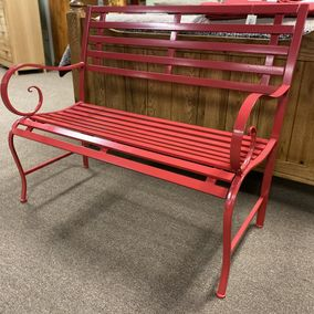 Evergreen Red Metal Bench