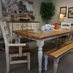 Amish - Belmont Farm Table & Bench w/Side Chairs