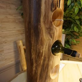 Rustic Log Wine Stand