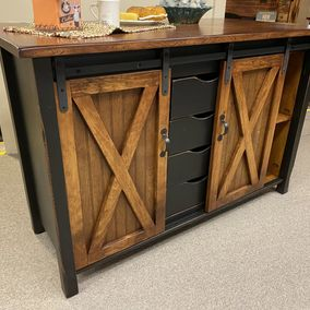 Vintage Creations by Sam - Amish - 4-C - Barn Door Kitchen Island