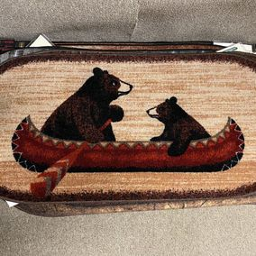 Mayberry Rugs Rubber Backed Mat Cozy Cabin Bear Canoe