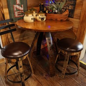 Amish - Barrel Stave Counter Table & Stools