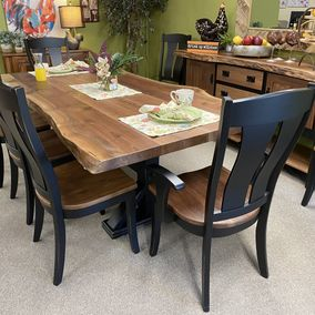Amish - Live Edge Dining Table & Omaha Chairs