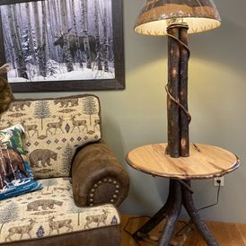 Amish Floor Lamp Table Solid Hickory