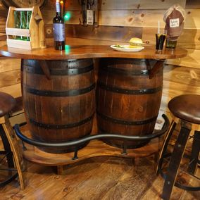 Rustic Barrel Design - Amish - Whiskey Barrel Bar