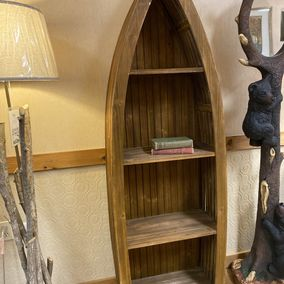 Crestview Collections - Rustic Wood Canoe Bookcase