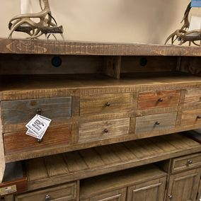 "IFD - 964STAND - Antique Collection - 8 Drawer 61"" TV Console"
