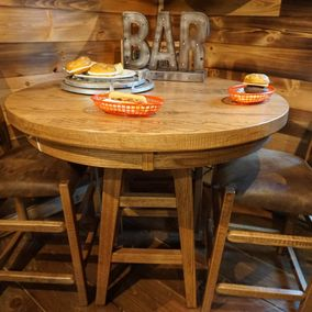 "Cornerstone Wood - Amish - 42"" Round Pub Table & Counter Stools"