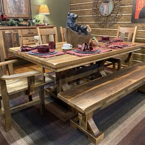 Amish - Lexington Trestle Table & Bench w/Side Chairs