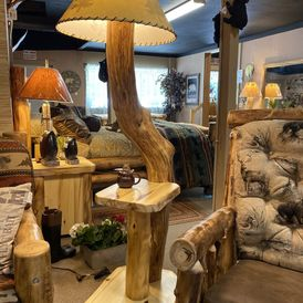 Rustic Log - Floor Lamp Shelf - Natural Aspen Wood