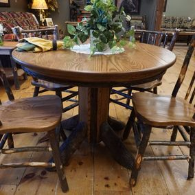 Brage - Amish - Round Hickory Table & Oak Tops