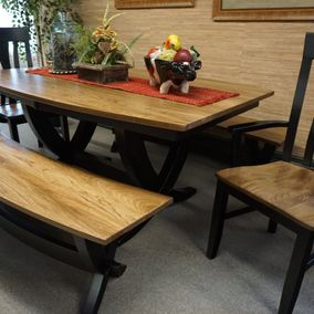 Amish - Tiverton Benches Dining Table & Mega Side Chairs